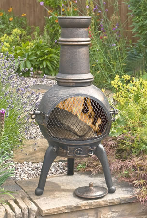 Image of Sierra Bronze Medium Cast Iron Chiminea Fireplace with Grill