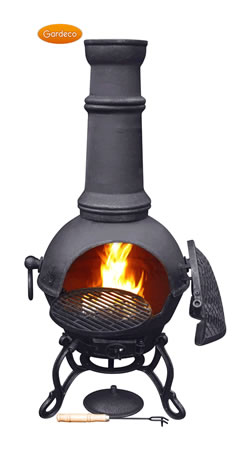 Image of Large Toledo Black Cast Iron Chimenea Fireplace with BBQ grill