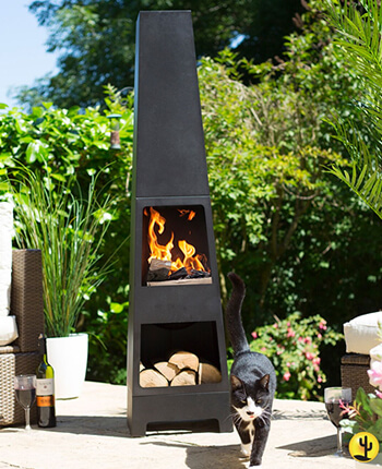 Image of La hacienda Malmo Steel 150cm Chiminea Patio Heater with Wood Store