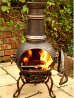 Medium Bronze Toledo Cast Iron Chimenea Fireplace with BBQ grill by Gardeco