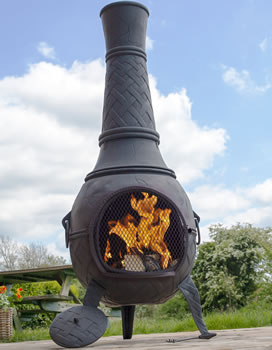 Image of Mega Cast Iron Chimenea in Black by La Hacienda