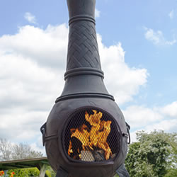 Small Image of Mega Cast Iron Chimenea in Black by La Hacienda