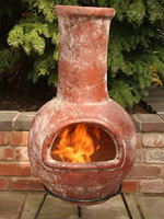 Small Image of Large Mexican Chimenea - Red Colima with Free Cover and Lava Rock