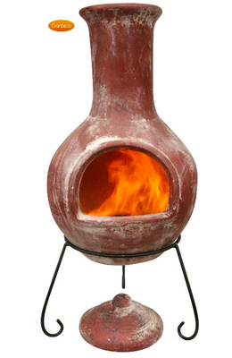 Image of Large Mexican Chimenea - Red Colima with Free Cover and Lava Rock