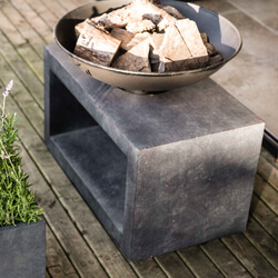 Small Image of Firefly Fire Bowl and Table Console Rectangle - Cement Grey