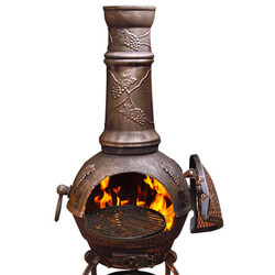 Small Image of Large Toledo Bronze Grape Cast Iron Chiminea Fireplace with BBQ grill