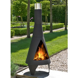Small Image of Colorado Black Medium Steel Chimenea by La Hacienda