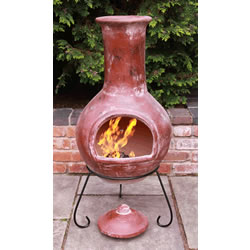 Small Image of Extra Large Red Colima Mexican Chimenea - With Free Lava Rock and Cover