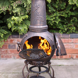 Small Image of Extra Large Toledo Bronze Grape Cast Iron Chiminea with Grill