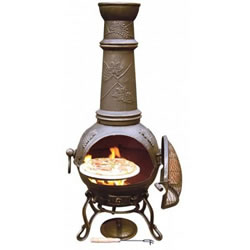 Small Image of Large Toledo Bronze Grape Cast Iron Chimenea Fireplace with BBQ grill