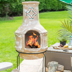 Small Image of Large Mexican Clay Chimenea - Spanish Scroll BBQ