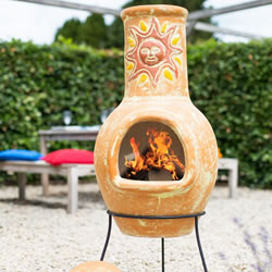 Small Image of Large Mexican Clay Chimenea - Sunset Yellow