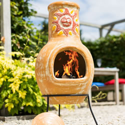 Small Image of Medium Clay Chimenea - Sunset Yellow