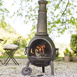 Small Image of Sierra Bronze Jumbo Cast Iron Chimenea Fireplace with Grill