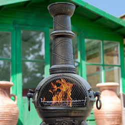 Small Image of Sierra Bronze Large Cast Iron Chiminea with Grill by La Hacienda