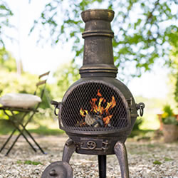 Small Image of Sierra Bronze Medium Cast Iron Chimenea Fireplace with Grill