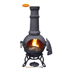 Small Image of Large Toledo Black Cast Iron Chimenea Fireplace with BBQ grill