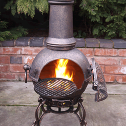 Small Image of Large Toledo Bronze Cast Iron Chiminea Fireplace with BBQ grill