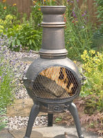 56016MZ Sierra Bronze Medium Cast Iron Chimenea Fireplace with Grill
