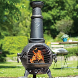 Small Image of Sierra Bronze Extra Large Cast Iron Chiminea Fireplace with Grill