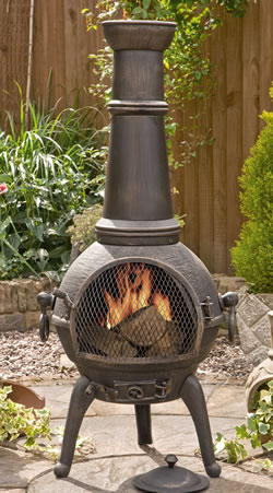 Elegant Image Of Sierra Bronze Extra Large Cast Iron Chimenea Fireplace With Grill