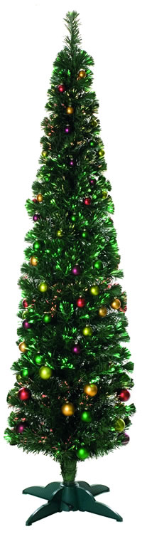 Image of Green 180cm (6ft) Fibre Optic Christmas Tree with Balls