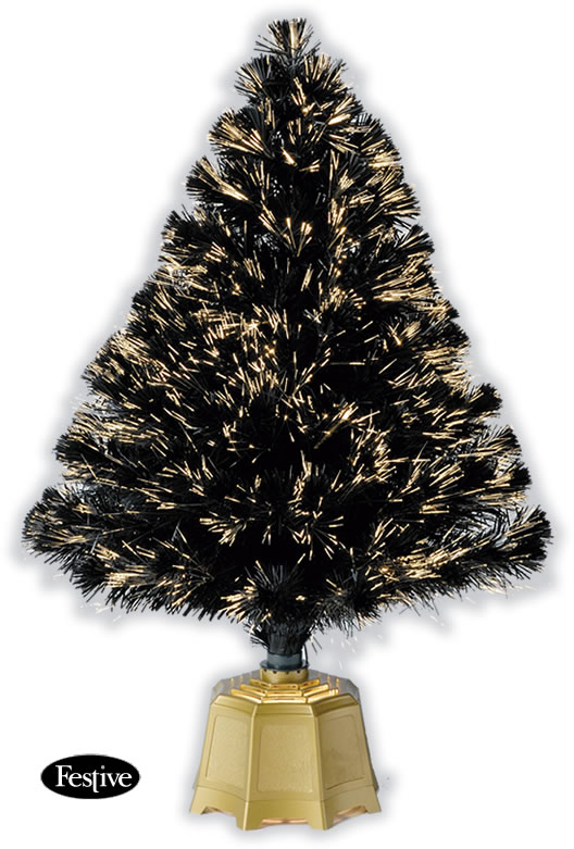 Galaxy Fibre Optic Christmas Trees - Black 3ft / 0.9m - £28.49 ...
