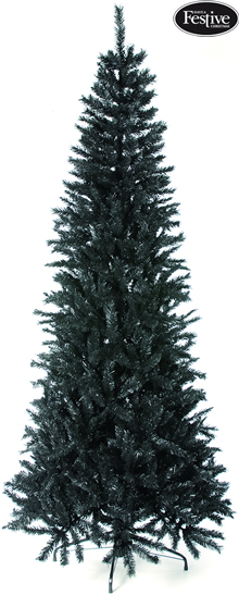 Image of Regency Black Slim Fir 6.5ft Christmas Tree
