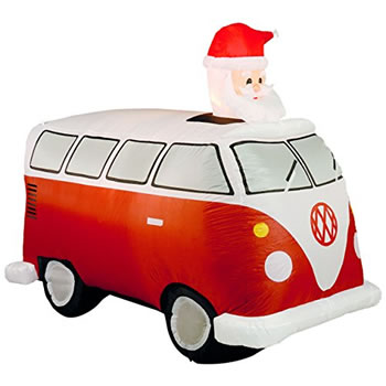 Image of Inflatable Santa in Red Retro Camper Van