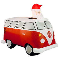 Small Image of Inflatable Santa in Red Retro Camper Van
