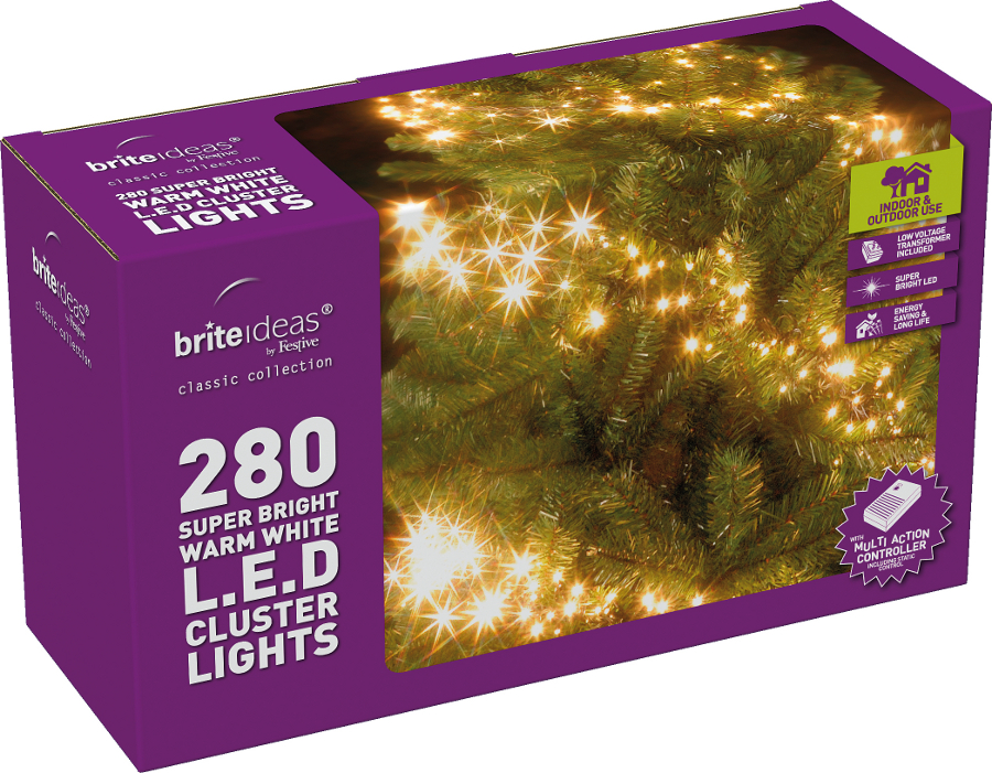 Multiaction Warm White Cluster Led Christmas Lights 280