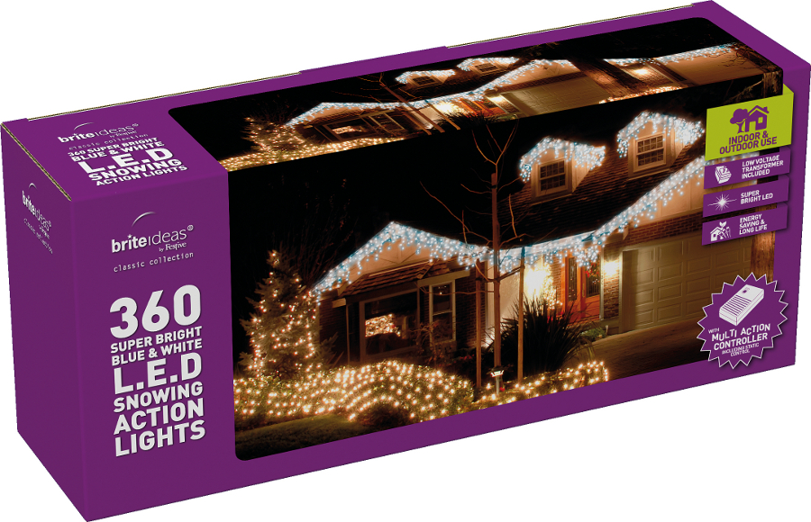 Bluewhite Snowing Icicle Christmas Lights 360 Lights 3241