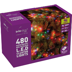 Image of Multiaction Multicolour Cluster LED Christmas Lights - 480 Lights