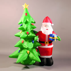 Image of Inflatable 180cm (6ft) Santa and Christmas Tree