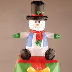 Small Image of Inflatable 180cm (6ft) Snowman and Present