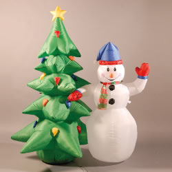 Amazing Image Of Inflatable 180cm (6ft) Snowman And Christmas Tree