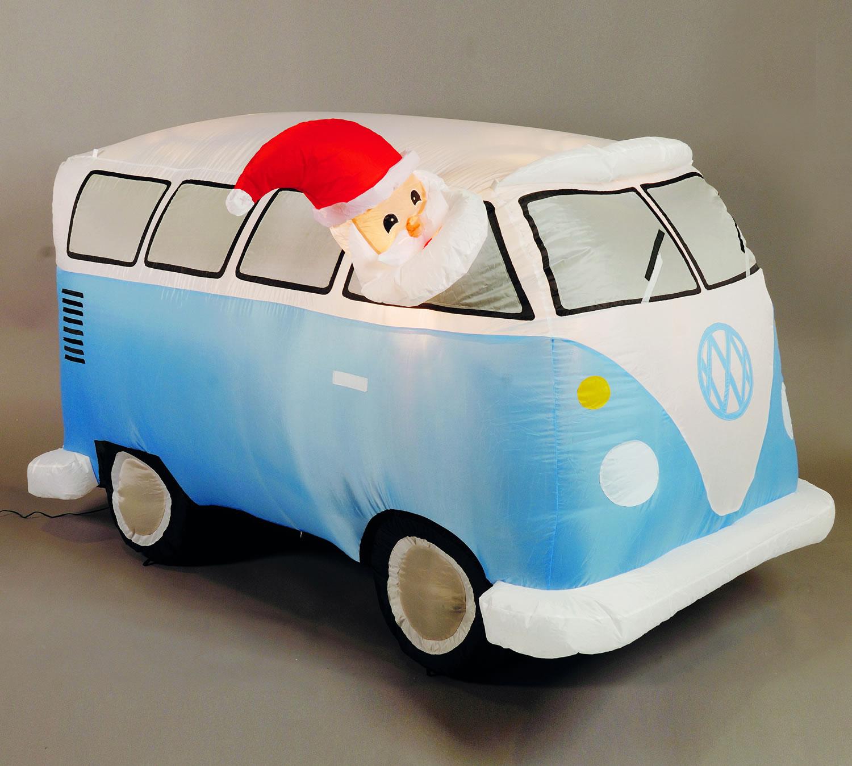 Inflatable cm ft santa in blue retro camper van £