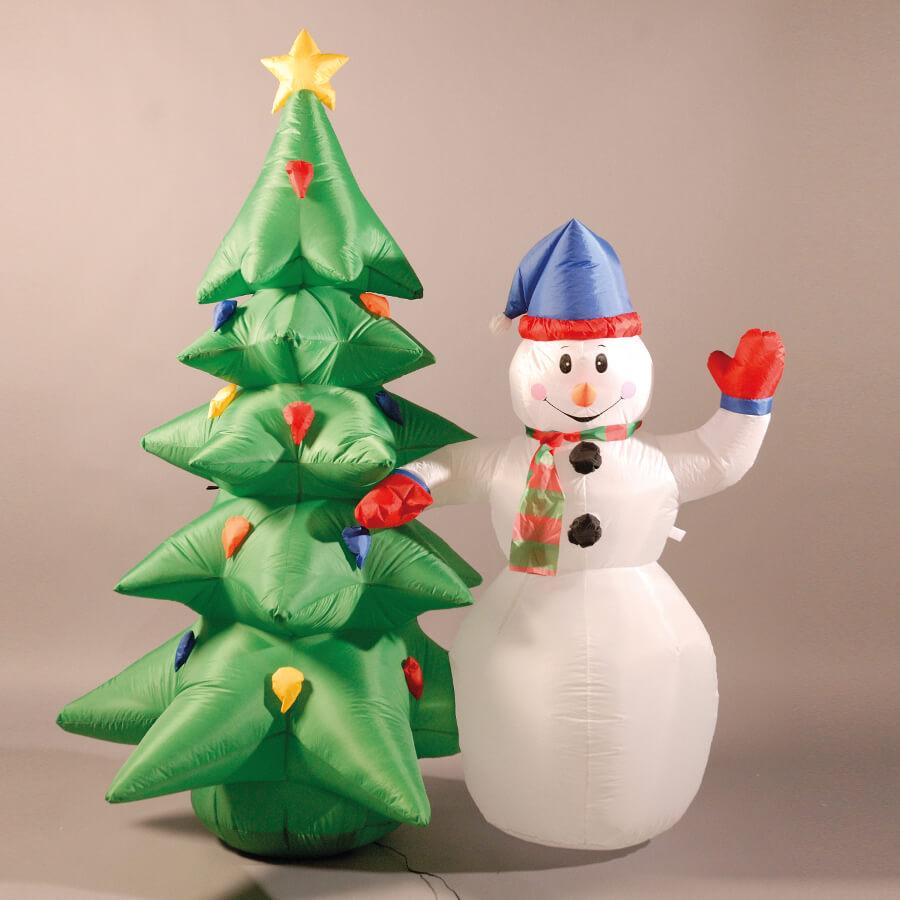 Inflatable Christmas Tree.Inflatable 180cm 6ft Snowman And Christmas Tree