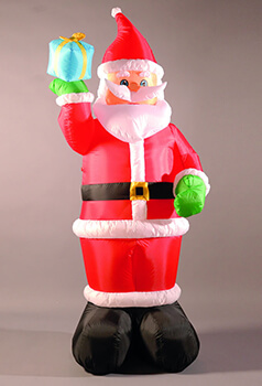 Image of Inflatable 240cm (8ft) Santa Holding a Present