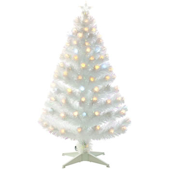 Image of White 120cm (4ft) Fibre Optic Christmas Tree with Spikey Balls