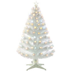 Small Image of White 120cm (4ft) Fibre Optic Christmas Tree with Spikey Balls