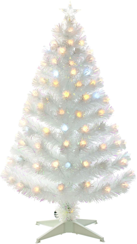 4ft Christmas Tree.White 120cm 4ft Fibre Optic Christmas Tree With Spikey Balls