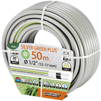Image of Claber Silver Green Hosepipe 12.5mm - 50 Metres