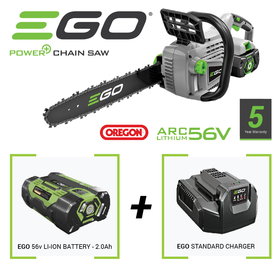 Image of Ego Cordless Chainsaw with 56v Battery and Charger - EGCS1400E2AH