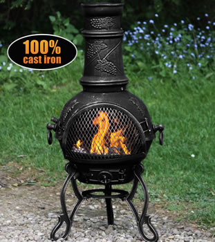 Image of Medium Toledo Black Grape Cast Iron Chiminea Fireplace with BBQ grill
