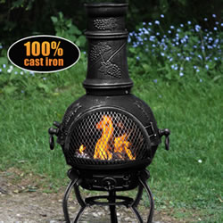 Small Image of Medium Toledo Black Grape Cast Iron Chiminea Fireplace with BBQ grill