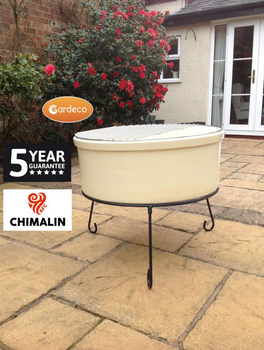 Image of Gardeco Atlas Jumbo Ivory Coloured Chimalin AFC Fire Bowl Grill