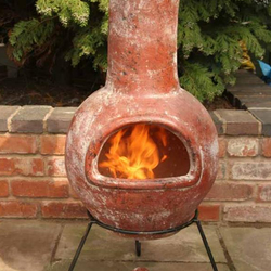Small Image of Large Red Colima Mexican Chimenea Outdoor Fire