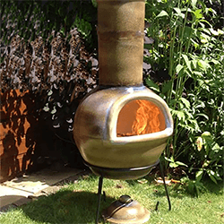 Extra image of Gardeco Sempra Large Matt Brown Chimalin AFC Chimenea