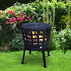 Small Image of Gardeco Aragon Cast Iron Fire Basket with Grill